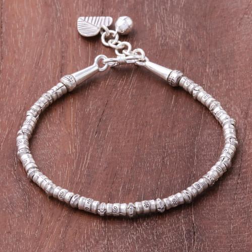 Karen Silver Beaded Heart Charm Bracelet from Thailand 'Ringing Love'