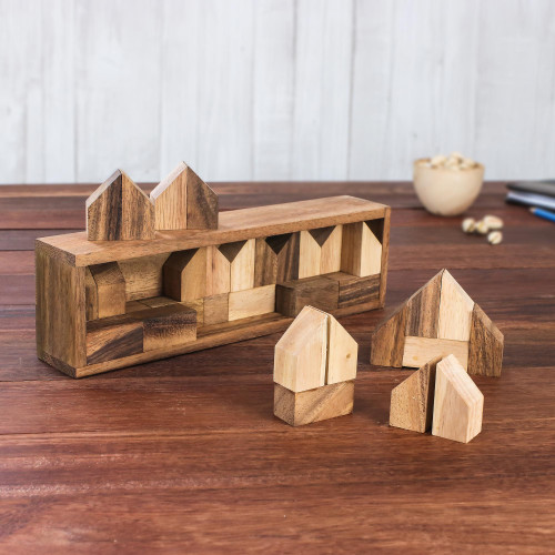 Raintree Wood City Builder Game from Thailand 37 Piece 'Home Town'