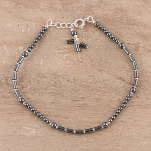 Hematite and Sterling Silver Beaded Anklet from India 'Gleaming Muse'