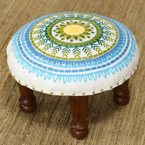 Floral Embroidered Cotton Stool from India 'Rajasthani Mandala'