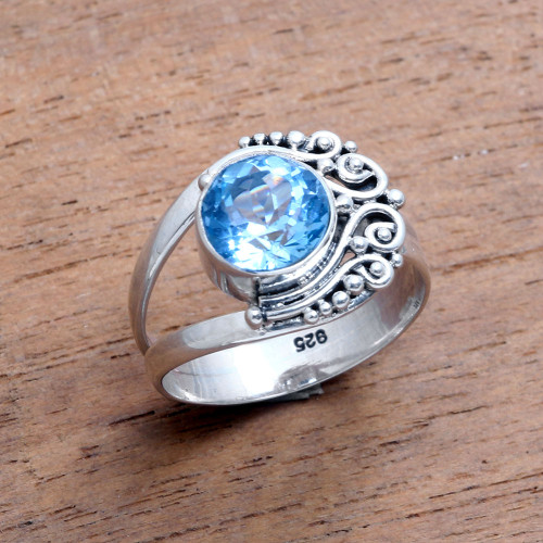 Blue Topaz Cocktail Ring from Bali 'Regal Bali'