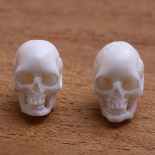 Skull-Shaped Bone Stud Earrings Crafted in Bali 'Trunyan Skulls'