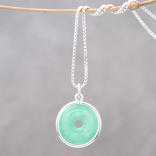 Circular Jade Pendant Necklace Crafted in Thailand 'Green Hoop'