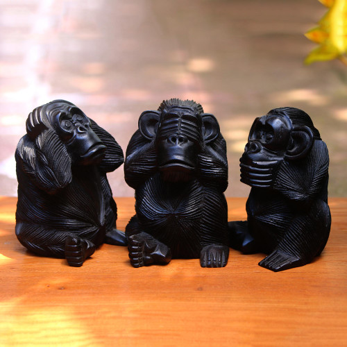 Hand-Carved Monkey Maxim Sculptures from Bali Set of 3 'Helpful Monkeys'