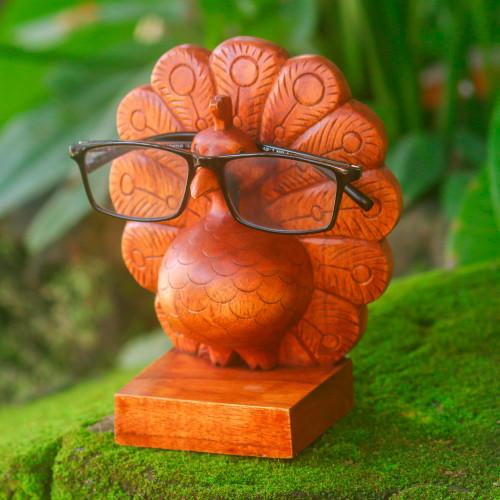 Wood Peacock Eyeglasses Holder from Bali 'Little Peacock'