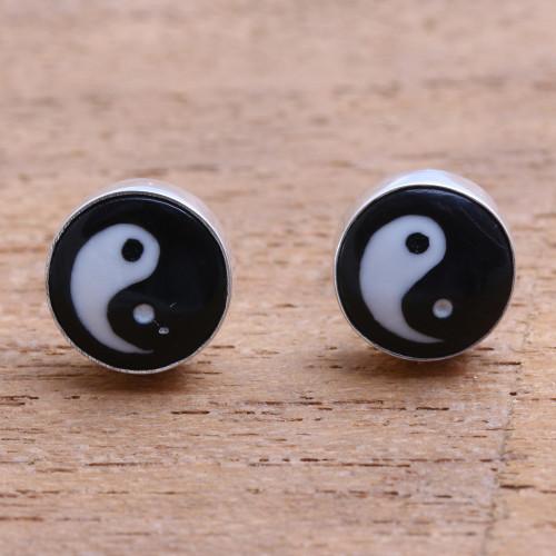 Yin and Yang Bone Stud Earrings from Bali 'Cosmic Balance'