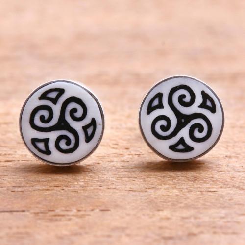 Spiral Motif Bone Stud Earrings from Bali 'Tribal Symmetry'