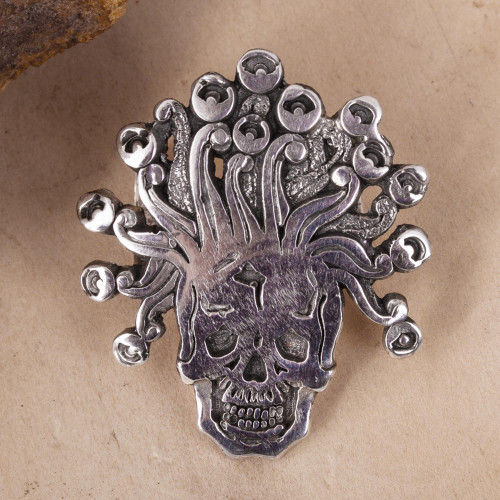 Sterling Silver Aztec God Pendant from Mexico 'Miquiztli'