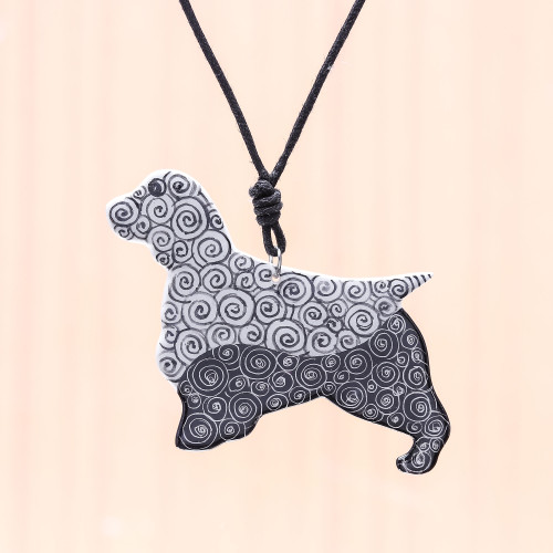 Ceramic Dog Pendant Necklace with Painted Spiral Motifs 'Spiral Dog'