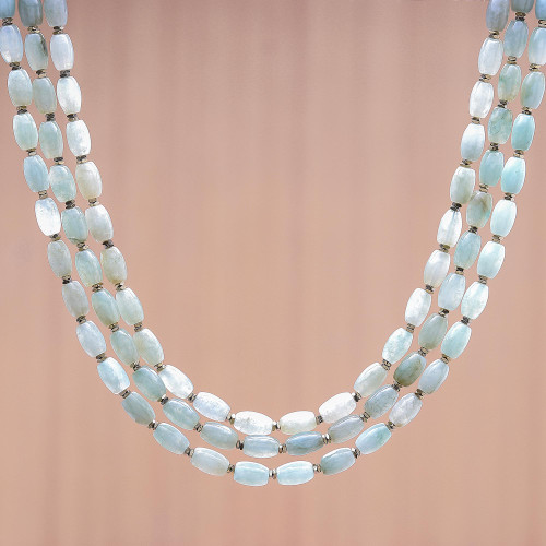 Jade and Hematite Beaded Strand Necklace from Thailand 'Graceful Palace'