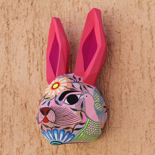 Hand-Painted Eco-Friendly Rabbit Wall Sculpture from Mexico 'Sweet Rabbit'