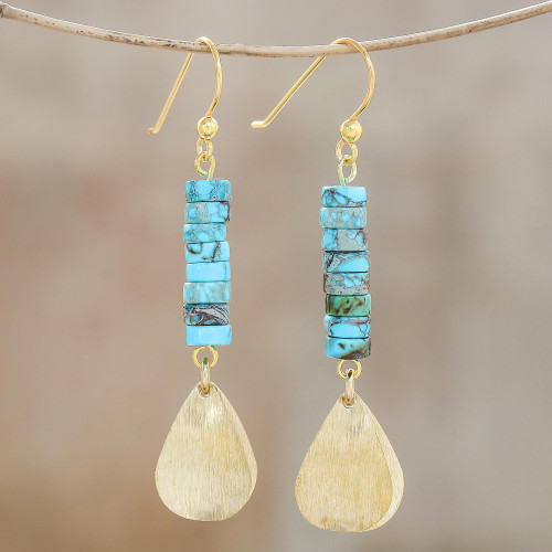 Brass and Reconstituted Turquoise Dangle Earrings 'Sea Gold'