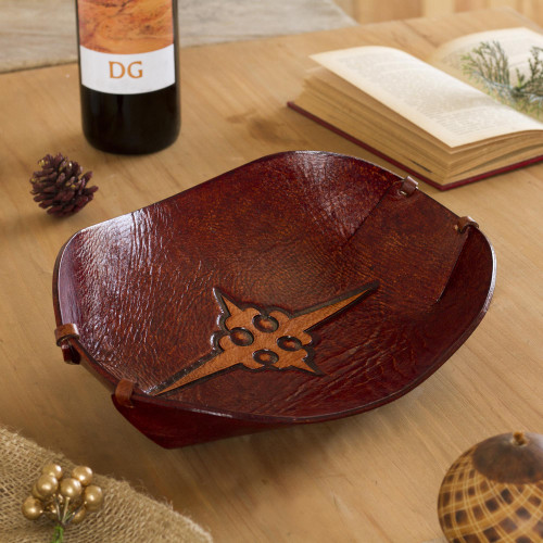 Cross Pattern Leather Catchall from Peru 'Gothic Elegance'