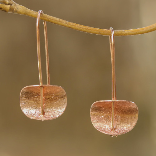 Modern Rose Gold Plated Sterling Silver Drop Earrings 'Urban Minimalism'