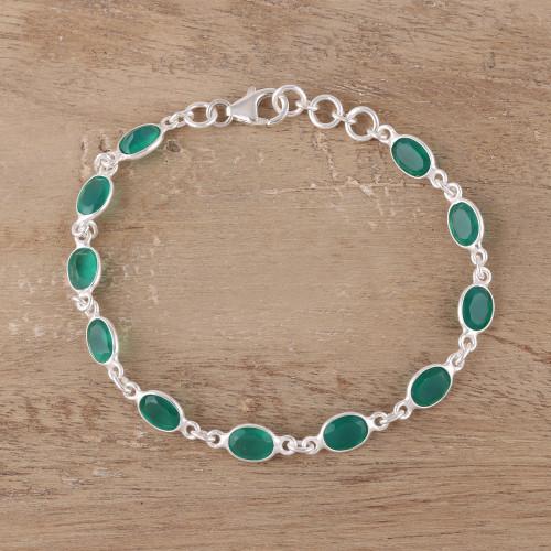 Green Onyx Tennis Bracelet from India 'Romantic Green'