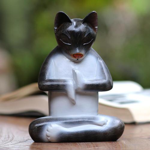 Suar Wood Lotus Pose Yoga Cat Sculpture in Grey from Bali 'Full Lotus Cat in Grey'