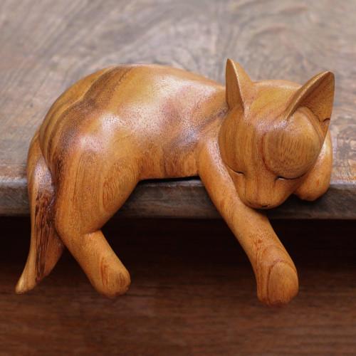 Natural Finish Suar Wood Sleeping Cat Sculpture from Bali 'Snoozing Cat'