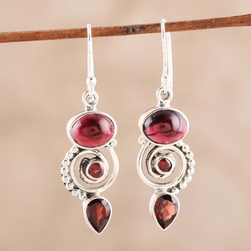 Garnet and Sterling Silver Spiral Dangle Earrings 'Fiery Labyrinth'