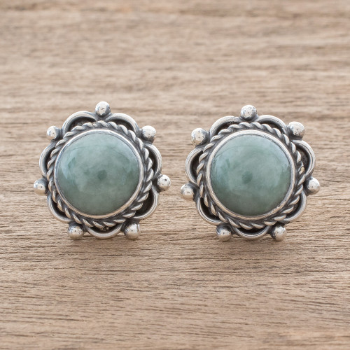 Green Jade Button Earrings Crafted in Guatemala 'Sunrise in Antigua'