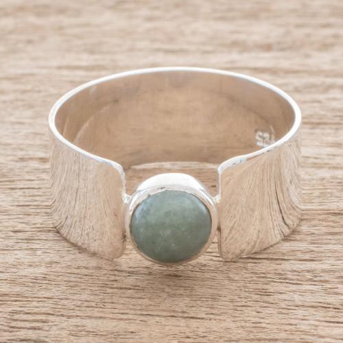Apple Green Jade Band Ring from Guatemala 'Magic Maya in Apple Green'