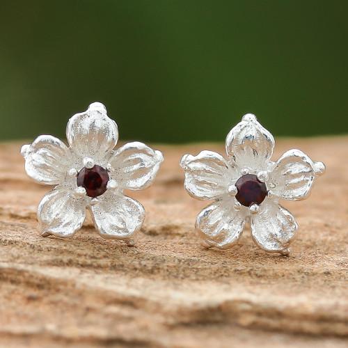 Floral Garnet Stud Earrings from Thailand 'Winter Blooms'