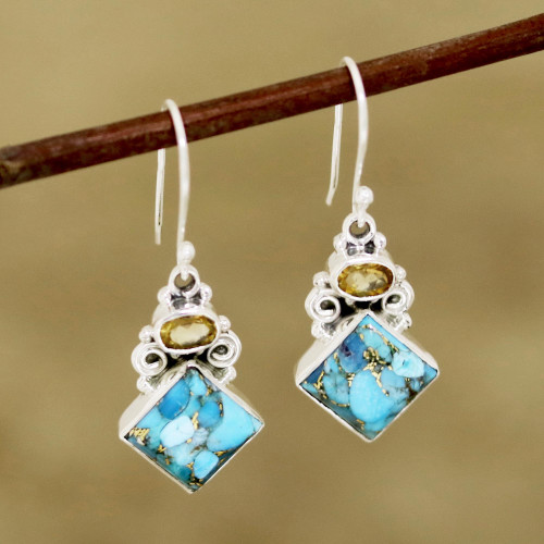 Citrine and Composite Turquoise Dangle Earrings from India 'Sky Fragments'