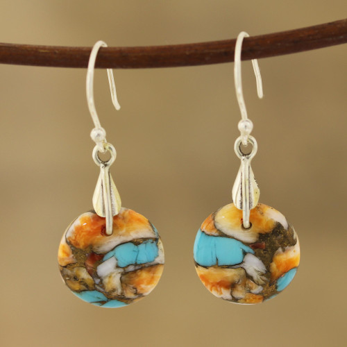 Circular Composite Turquoise Dangle Earrings from India 'Moon of Mystery'