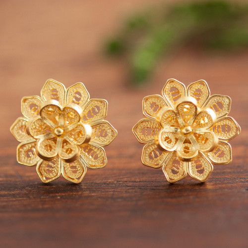 Floral Gold Plated Sterling Silver Filigree Button Earrings 'Fantasy Stars'
