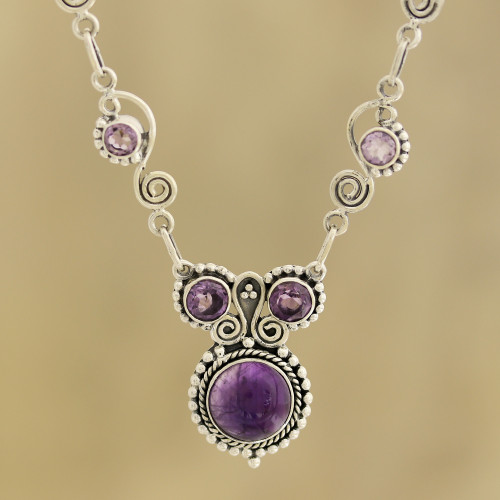 Indian Amethyst and Sterling Silver Necklace 'Meerut Magic'