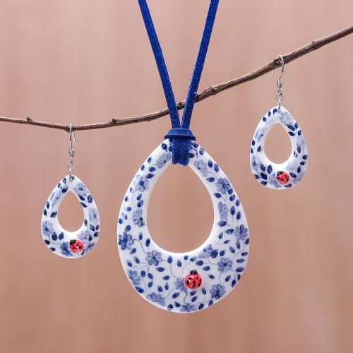Floral Ladybug Ceramic Jewelry Set from Thailand 'Cute Ladybug'