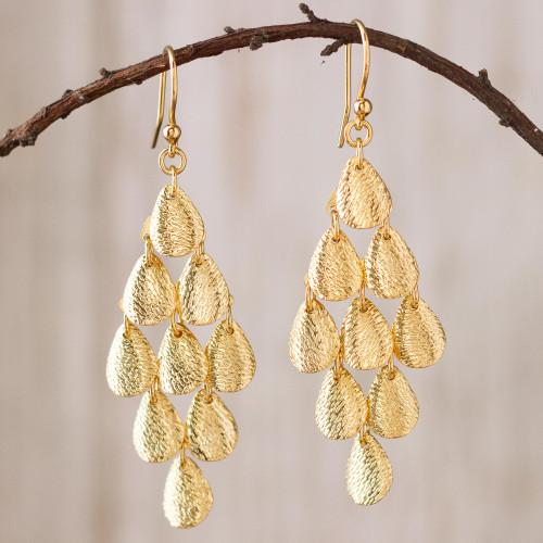 Teardrop Gold Plated Sterling Silver Dangle Earrings 'Rain'
