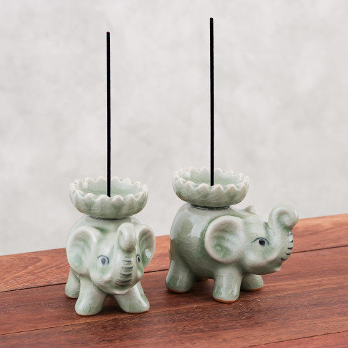 Celadon Ceramic Elephant Incense Holders in Green Pair 'Baby Elephants in Green'