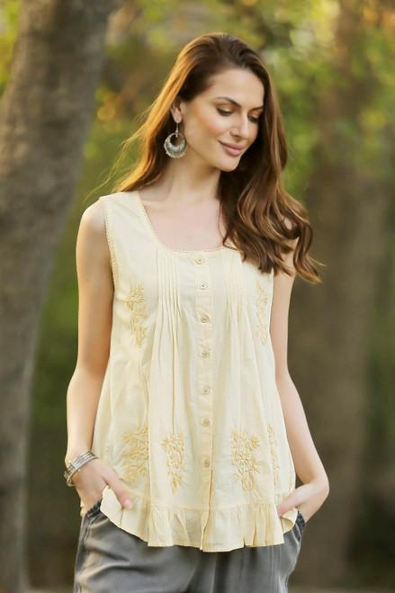 Pintucked Sleeveless Cotton Blouse in Yellow 'Morning Sunlight'