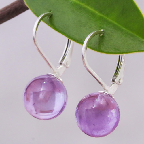 Purple Amethyst and Sterling Silver Earrings from Thailand 'Pure Violet'