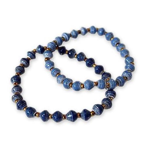 31 Bits Blue Recycled Paper Stacking Bracelets Pair '31 Bits Bracelets'