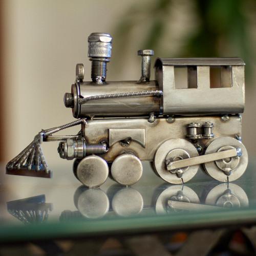 Rustic Locomotive Recycled Metal Sculpture 'Rustic Locomotive'