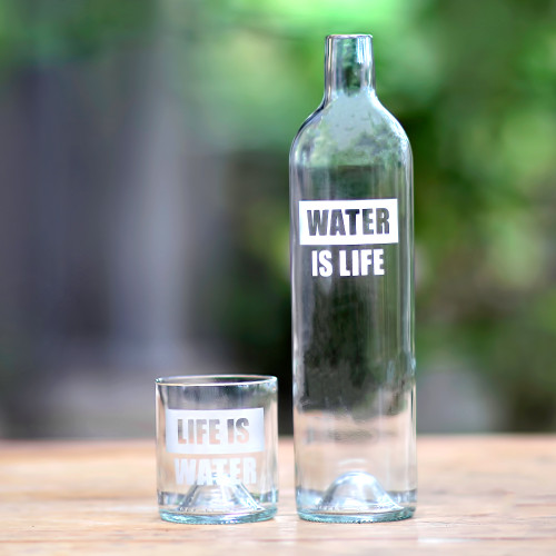 Upcycled Bottle Carafe and Glass Set Crafted in Bali 'Water is Life'