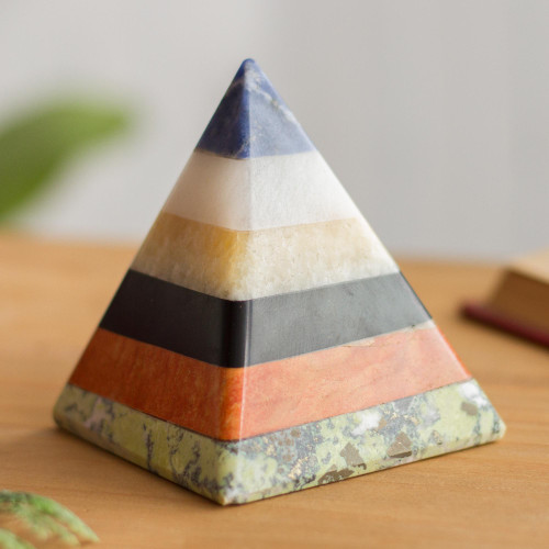 Handcrafted Gemstone Pyramid Paperweight Sculpture 'Natural Energy'