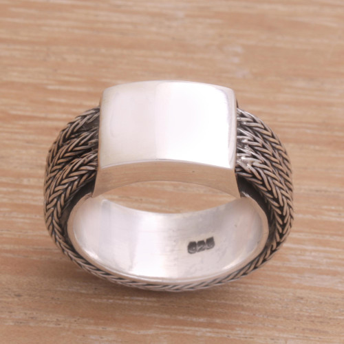 Men's Sterling Silver Band Ring 'Gallant Dragon'