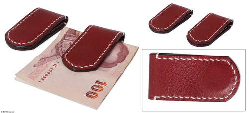 Leather money clips Pair 'Smart Spender'