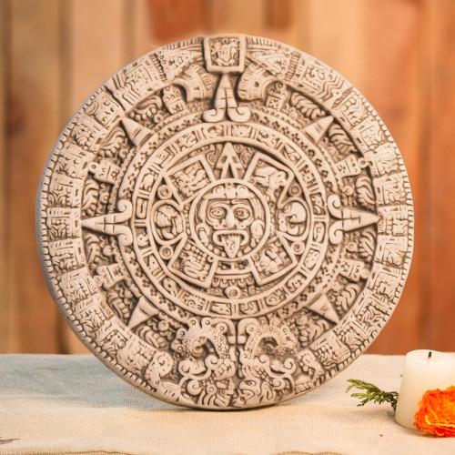 Ceramic plaque 'Natural Aztec Sun Stone'