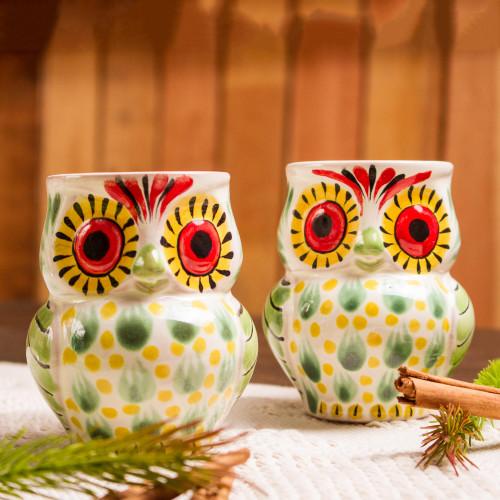 Artisan Crafted Majolica Ceramic Bird Mugs Pair 'Owl Hospitality'