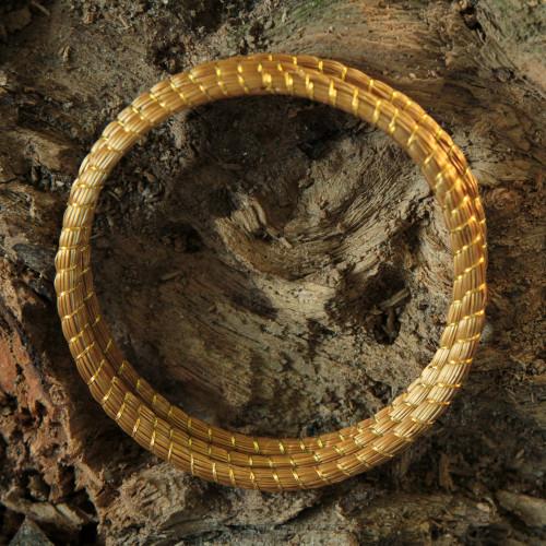 Handcrafted Golden Grass Bangle Bracelets Set of 3 'Natural Aura'
