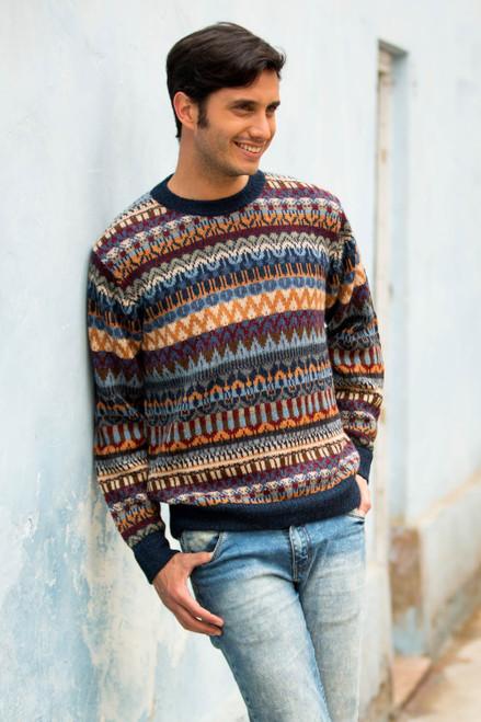 Multicolor Alpaca Men's Sweater with Blue Trim from Peru 'Colca Melange'