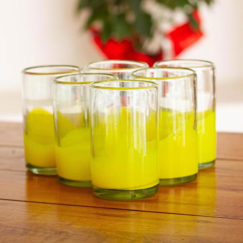 Fair Trade Handblown Yellow Glass 16 oz Drinkware Set of 6 'Yellow Splash'