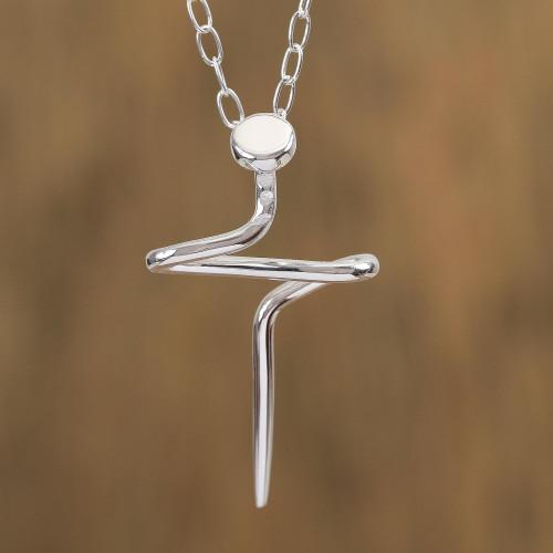Men's Artisan Crafted Taxco Silver Cross Necklace 'Son of a Carpenter'