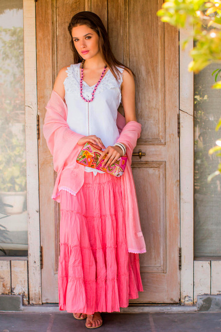 Rosy Pink Cotton Long Ruffled Skirt from India 'Strawberry Frills'