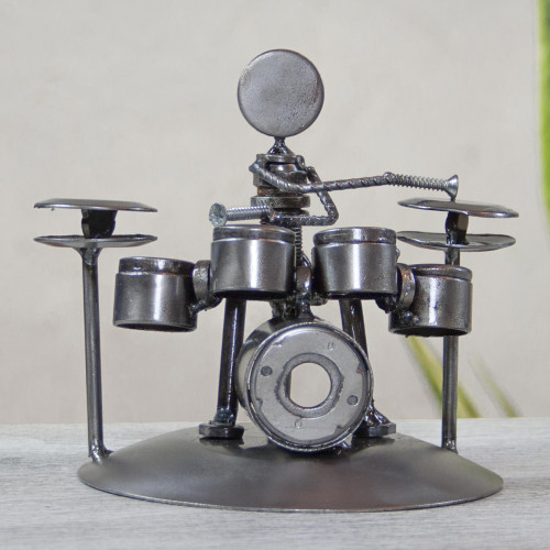 Hand Crafted Upcycled Metal Drummer Sculpture from Mexico 'Rustic Drummer'