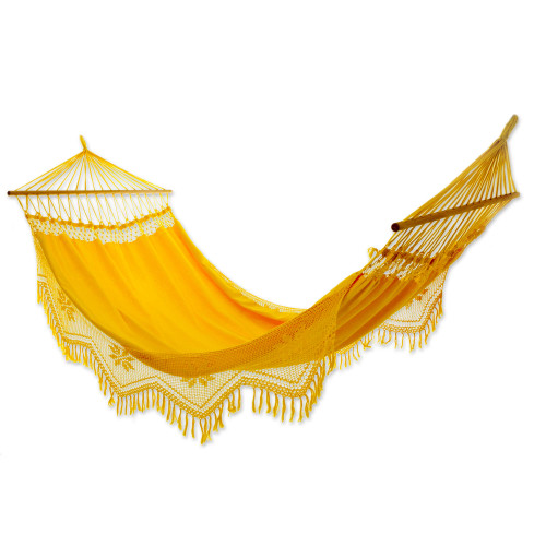 Cotton Hammock with Crocheted Fringe Spreader Bar Single 'Tropical Yellow'