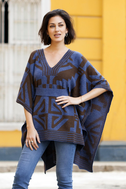 Knitted Alpaca Poncho with Belt in Blue and Brown 'Andean Geometry'